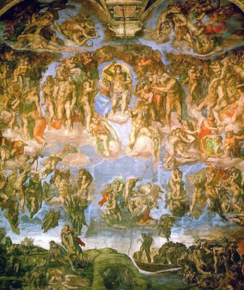 Страшный суд (Микеланджело, фреска в Сикстинской капелле, 1537—1541 гг.). Как и главная русская фреска Страшного суда, написана после несостоявшегося конца