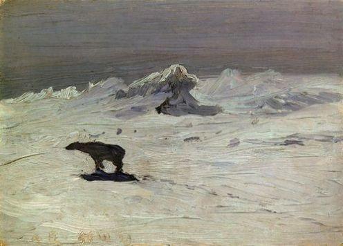 А. А. Борисов. Лунная ночь. Медведь на охоте, 1899 г.