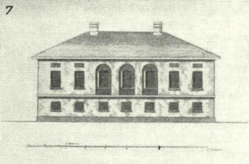 Образец для дома Засецких и ещё нескольких вологодских зданий из «Собрания фасадов» (второй альбом, чертёж 86), 1809 г.