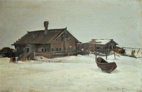 А. А. Борисов. Пустозёрск. Дом с курной трубой. 1898 г.