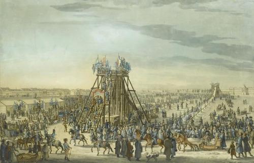 Ледяная горка в Санкт-Петербурге. 1788 г. Бенджамин Патерсен. Бумага, серые чернила, акварель, гуашь